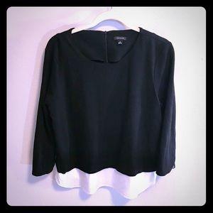 Ann Taylor Layered Blouse Black & White